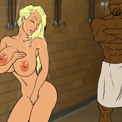 Undressing blonde in the shower